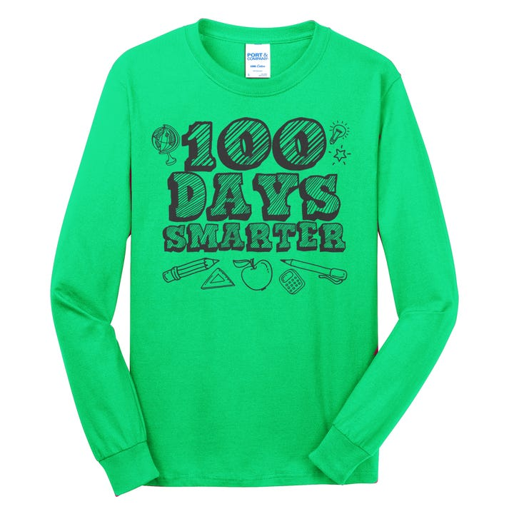 100 Days Smarter Funny 100 Days Of School Long Sleeve Shirt