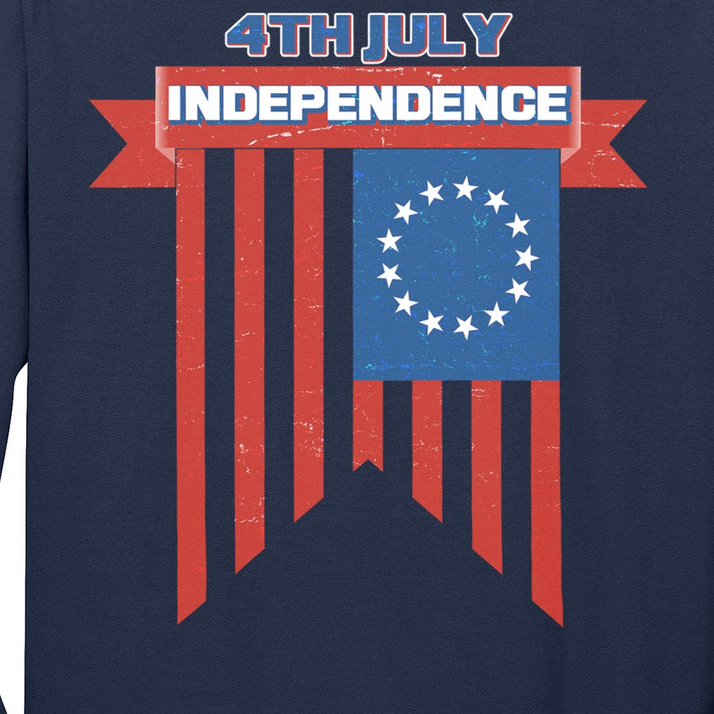 4th Of July Independence American Flag  Long Sleeve Shirt