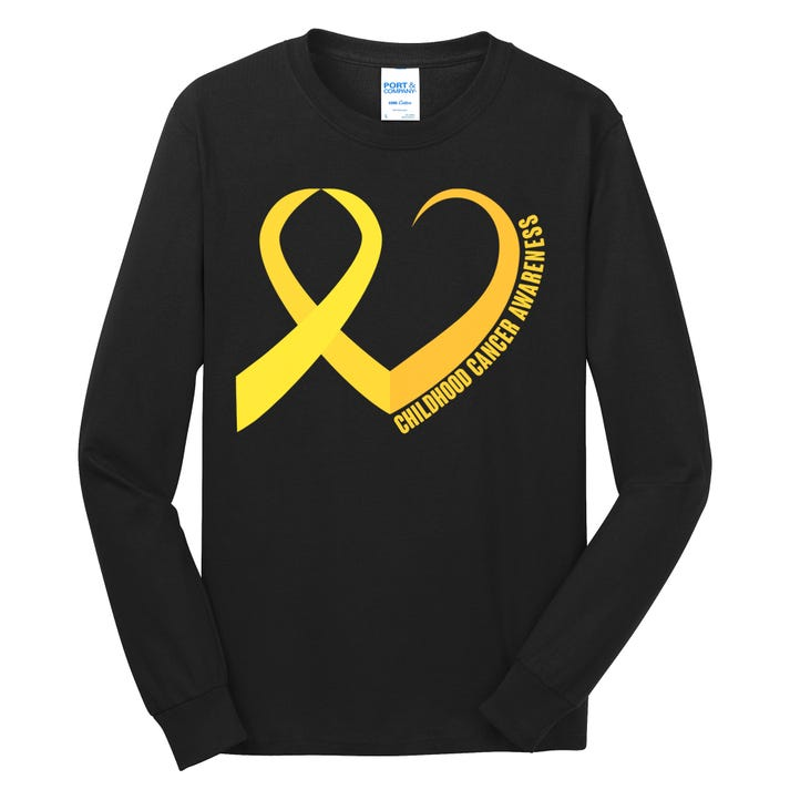 Childhood Cancer Awareness Yellow Ribbon Heart Long Sleeve Shirt