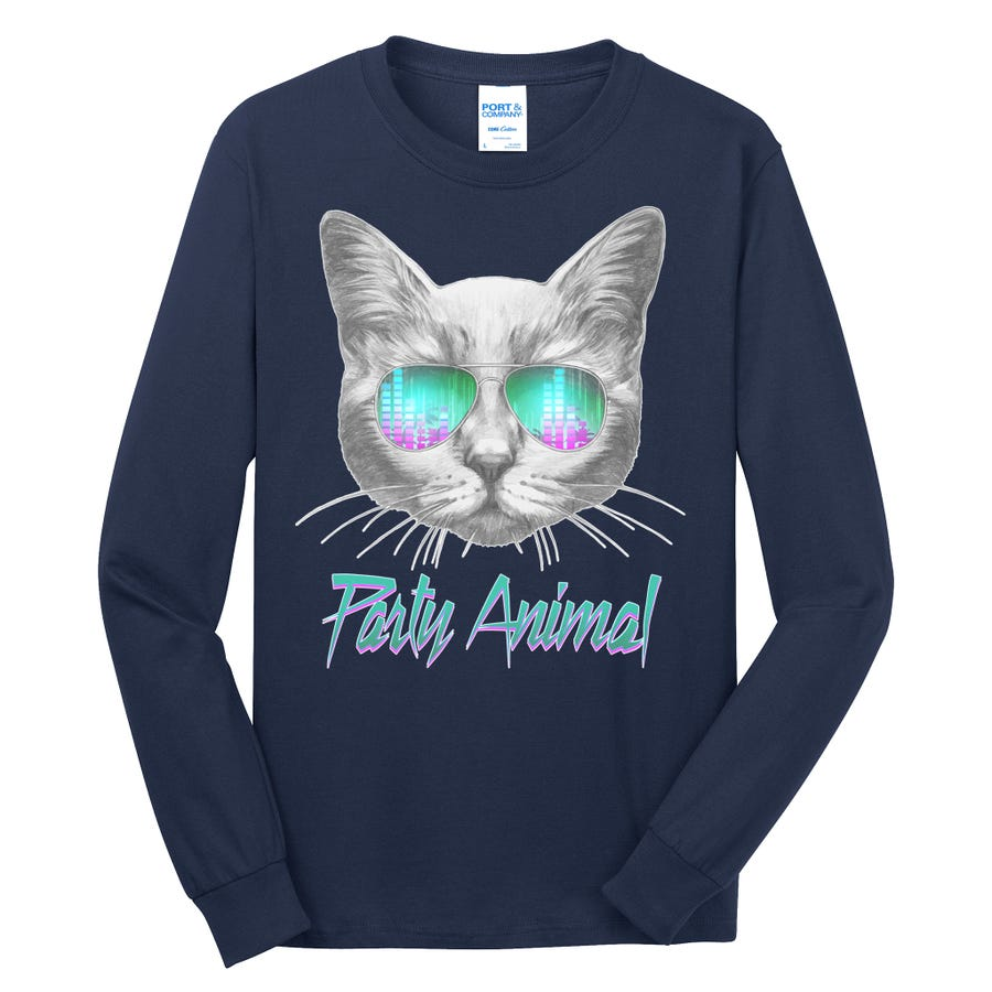 Cool Party Animal Cat Long Sleeve Shirt