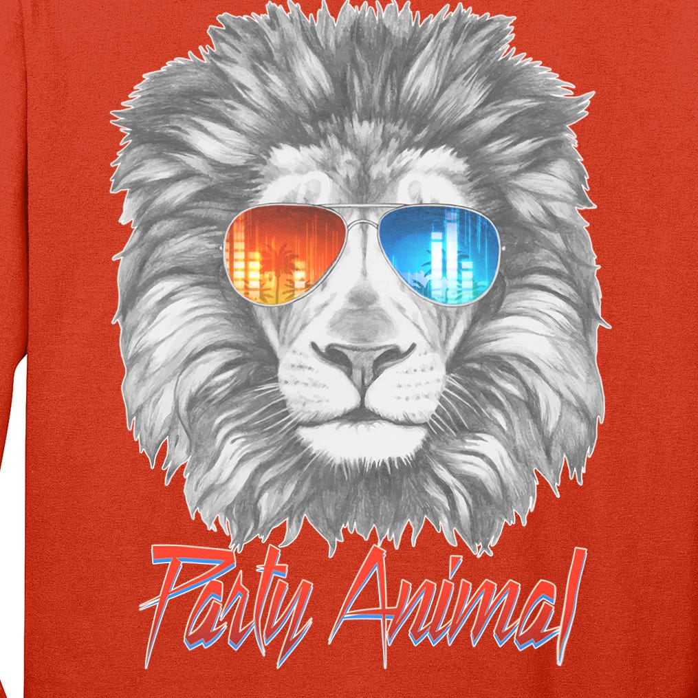 Cool Party Animal Lion Long Sleeve Shirt