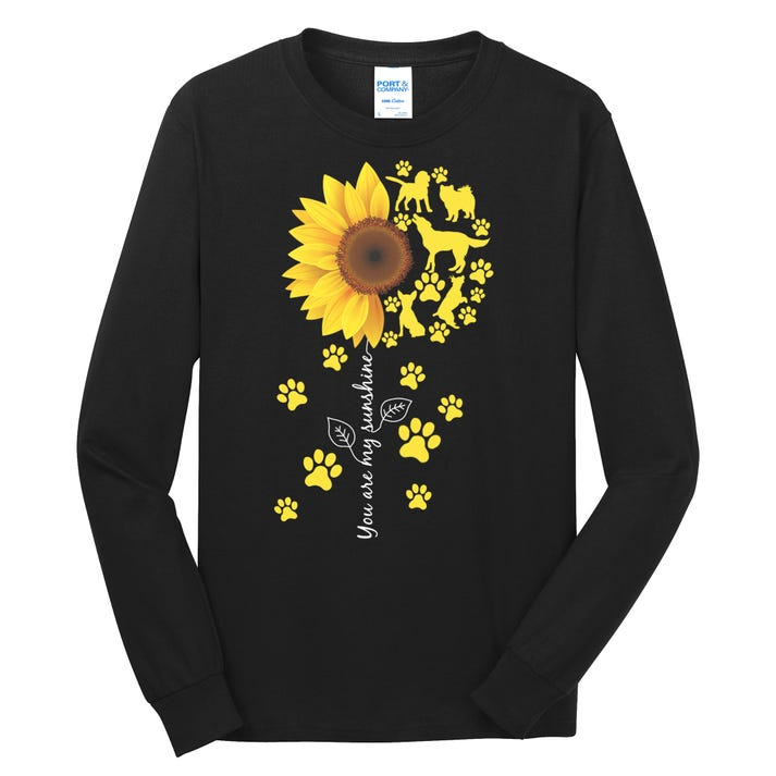 Cute You Are My Sunshine Sunflower Dogs Long Sleeve Shirt