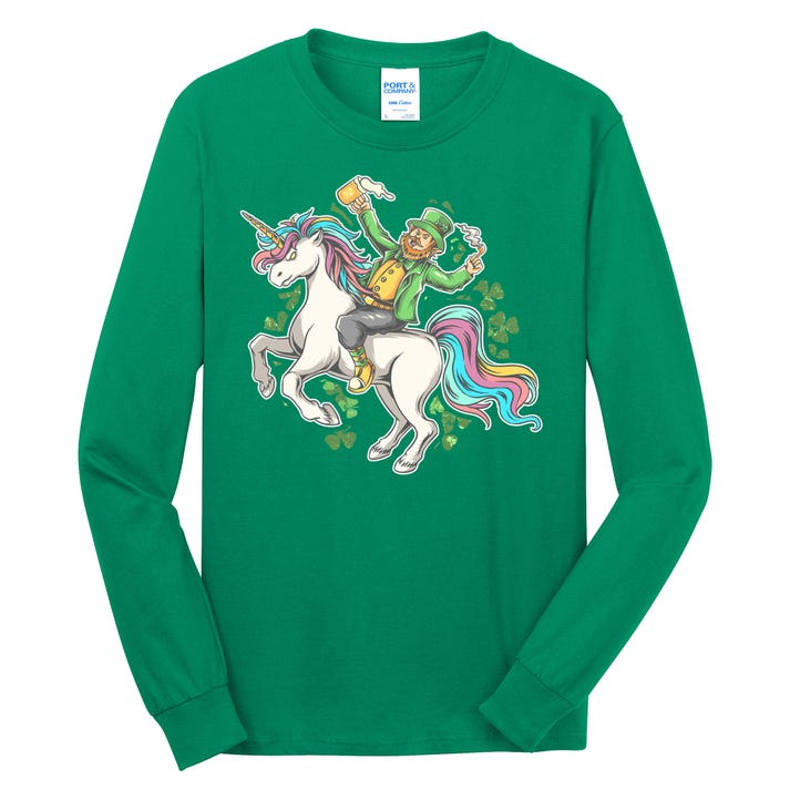 Funny St Patrick's Day Leprechaun Riding Unicorn Long Sleeve Shirt