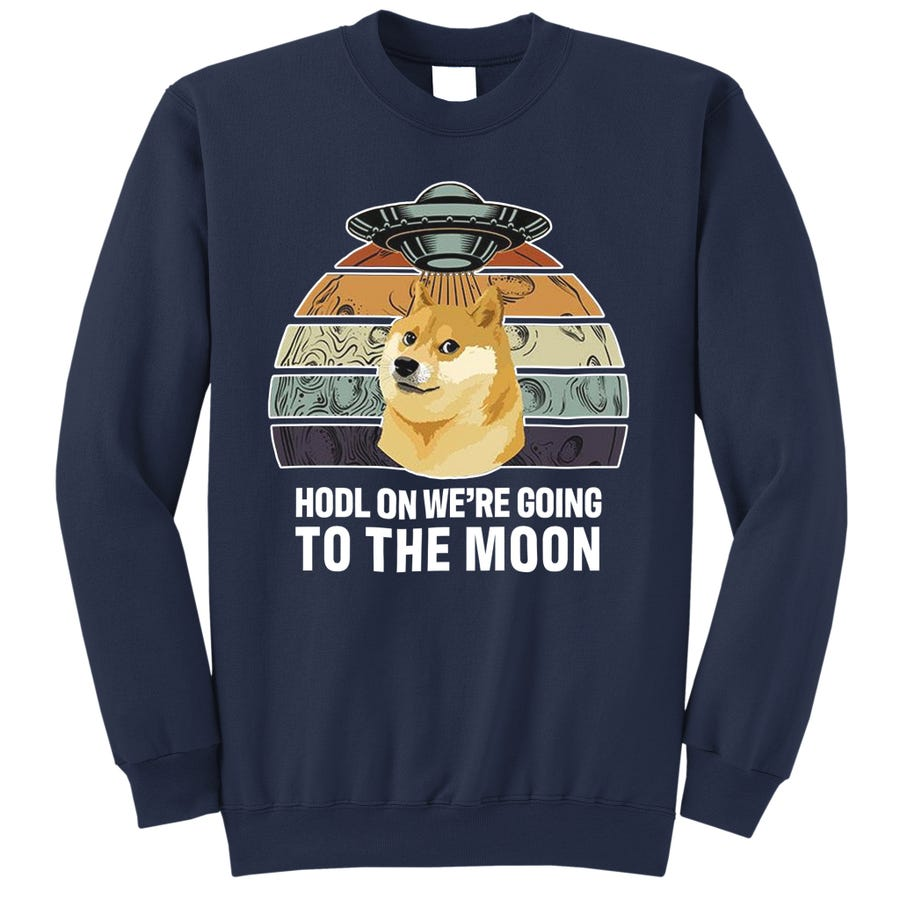 Hodl On We're Going To The Moon Retro Dogecoin Sweatshirt