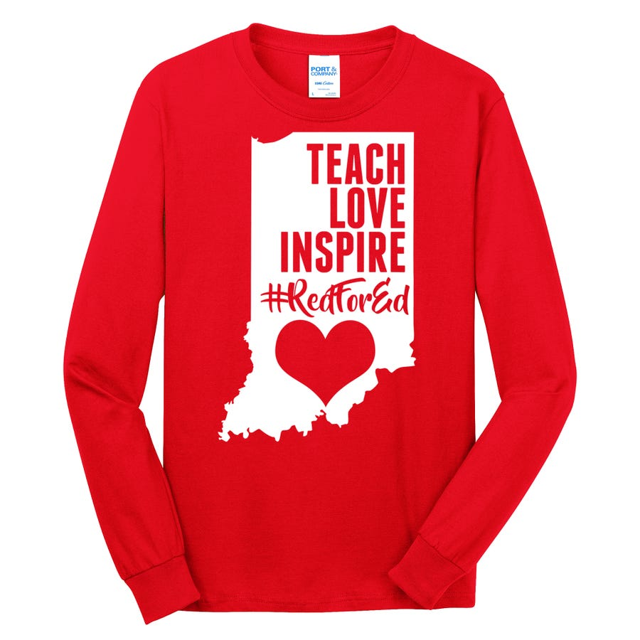 Indiana #Red For Ed  Long Sleeve Shirt