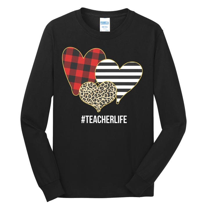 Leopard Red Plaid Striped Hearts Teacher Life Valentines Day Long Sleeve Shirt