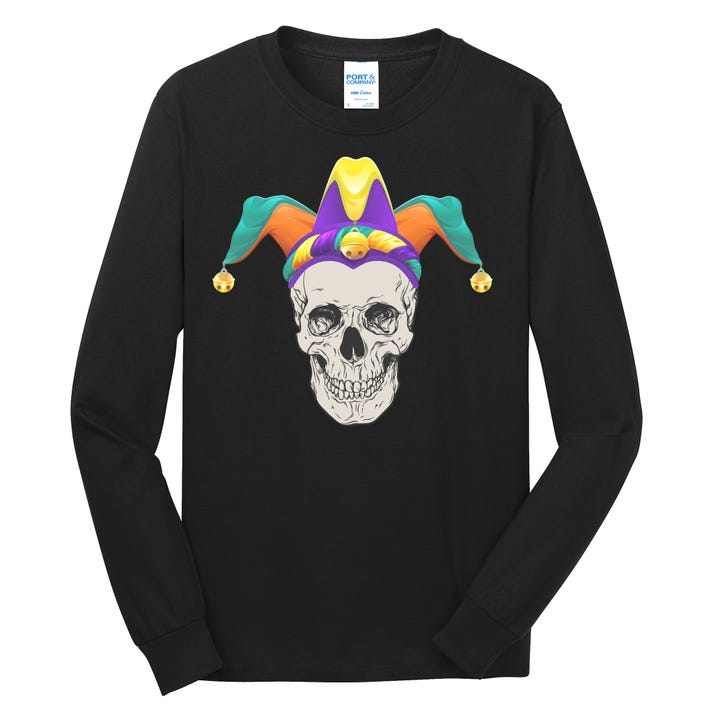 Mardi Gras Skull Party Hard Long Sleeve Shirt