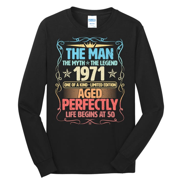 Vintage The Man Myth Legend 1971 Aged Perfectly 50th Birthday Long Sleeve Shirt